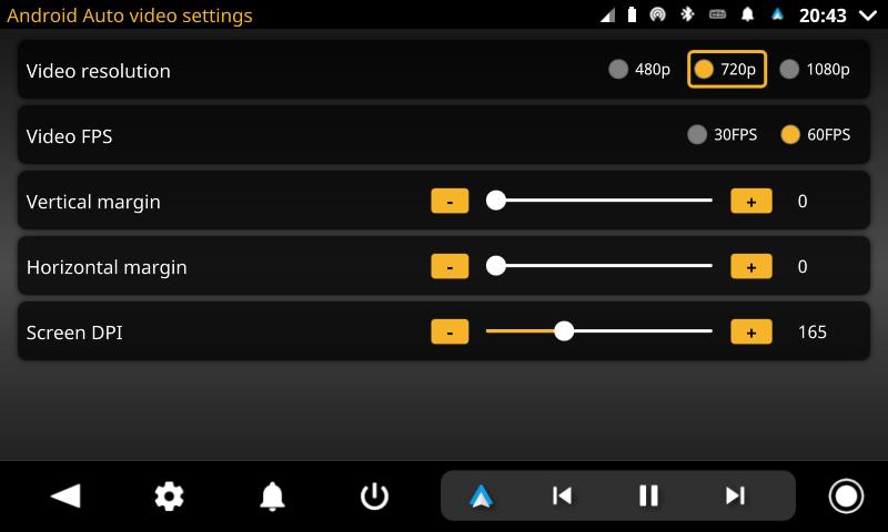 openauto android auto video settings