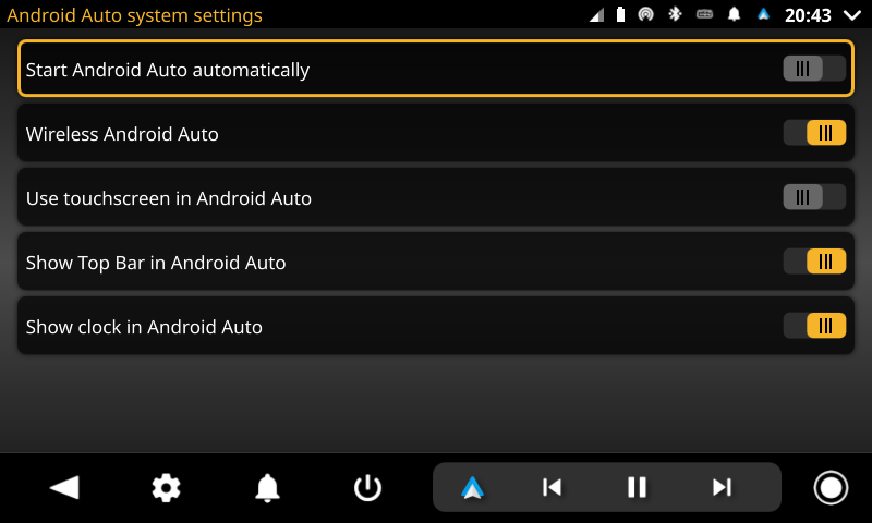openauto android auto system settings