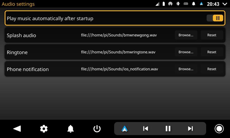 openauto audio settings